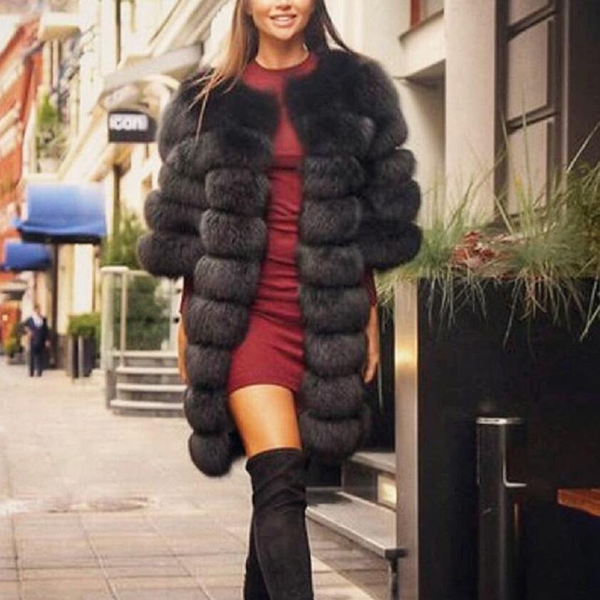 Real Fox fur coat women grey short sleeve Vest Detachable Transform Vest Fashion Luxury Thick Warm Coat Jacket Solid Fur