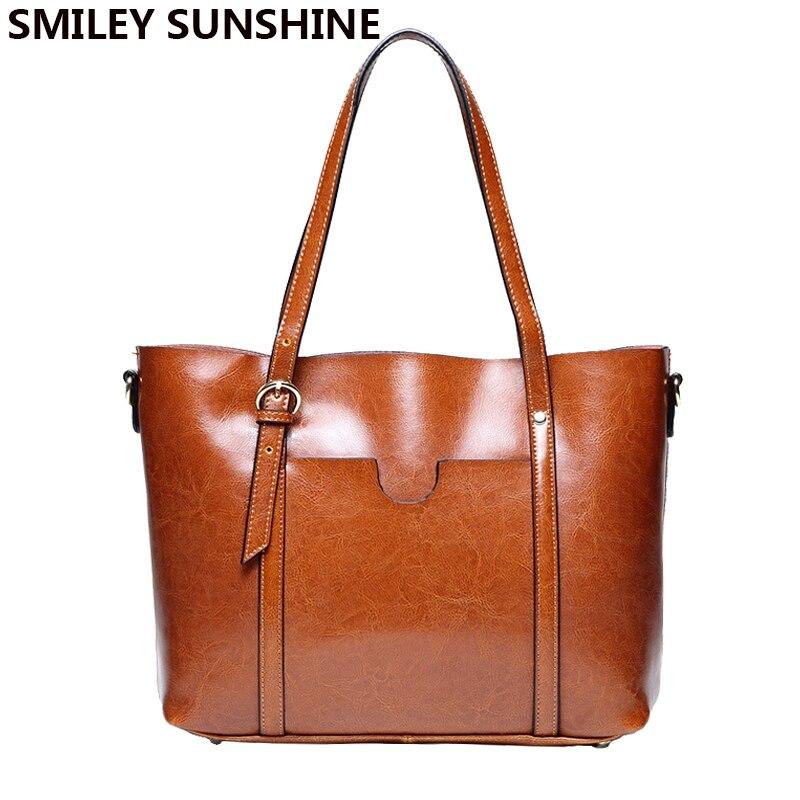 SMILEY SUNSHINE marque femmes en cuir sac à main en cuir véritable sacs femme brevet sacs à bandoulière grandes dames sacs à main marron fourre-tout 2018