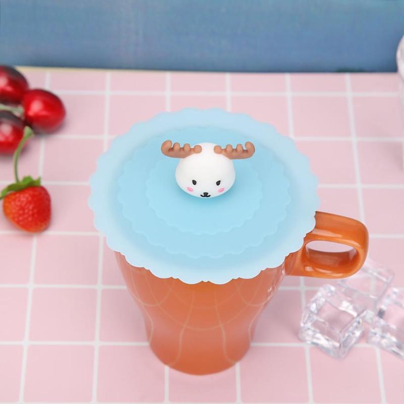 Tapa sellada reutilizable de dibujos animados 3D resistente al calor tapa de silicona tapa de tazas a prueba de fugas tapa de tazas de té ventosa tapas estirables de mantenimiento fresco