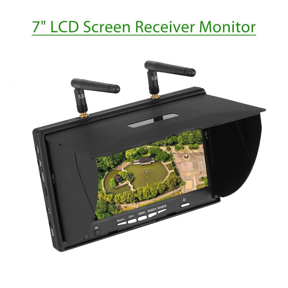 "TOMLOV LCD5802S 5,8 Ghz 40CH 7 ""Pantalla LCD 800*480 receptor de doble diversidad Monitor FPV batería integrada 600cd/m2 para Dron RC"