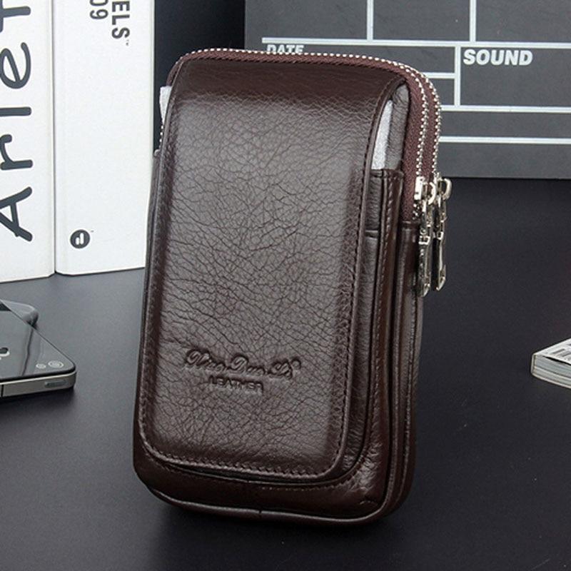 Men Leather Fanny Waist Bag Cell/Mobile Phone Coin Purse Pocket Belt Bum Pouch Pack Vintage Hip Bag High Quality