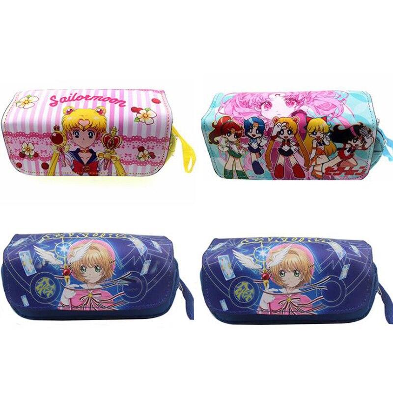 1 Pcs Cartoon Japanese Anime Sailor Moon Card Captor Sakura Girls Pencil Case Large Capacity Double Layer Pencil Bags Stationery