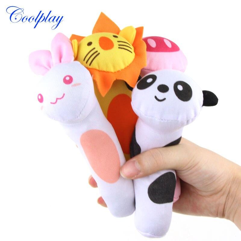 Coolplay, 2 шт., животные, погремушки для младенцев, мягкие плюшевые игрушки для детей, встряхивание, ВВ, эхолот, кольцо, звонок, прорезыватель, 0-12 ...