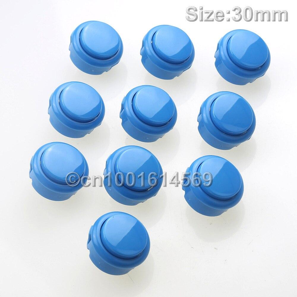 10 unids/lote 30mm ronda Arcade con pulsador Micro interruptor para reemplazar SANWA OBSF-30 OBSN-30 OBSC-30 botón MAME -4 # azul