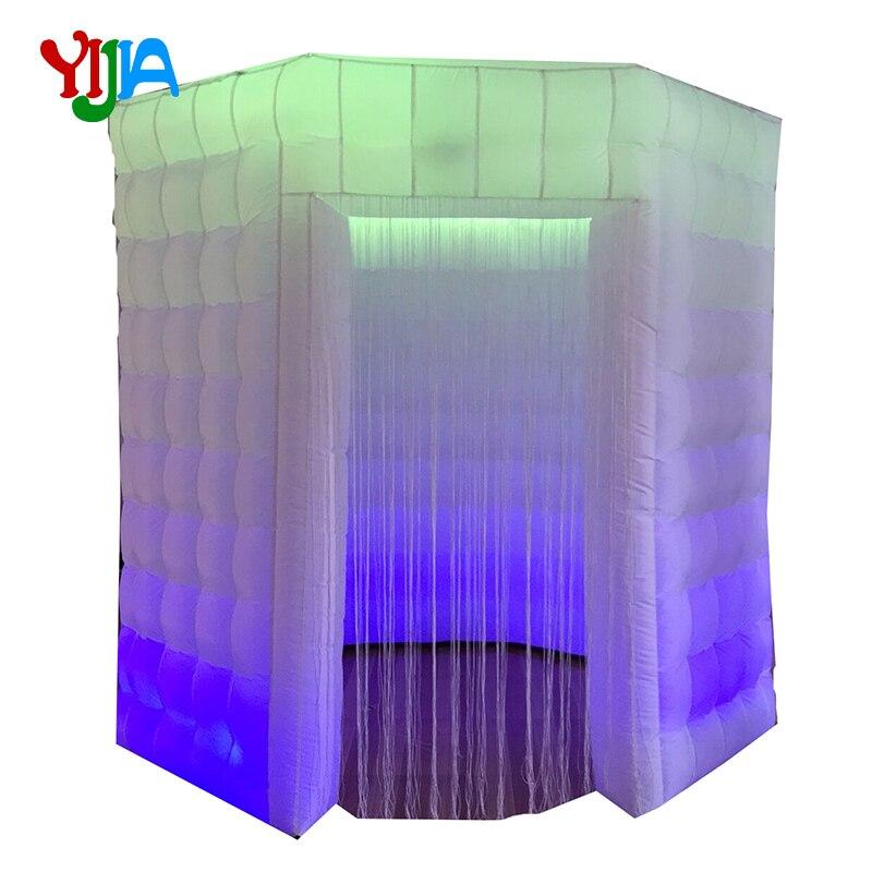 8. cabina de fotos inflable de cabina octagonal agradable con luces LED y carpa de soplador de aire interior para boda, fiesta evento