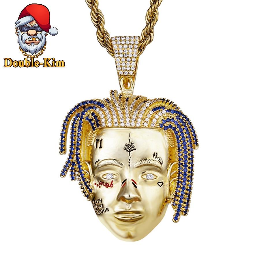 Rock garçon pendentif collier hommes Hiphop Rock rue Culture alliage de fer incrusté Zircon or chaîne collier mode homme bijoux cadeau