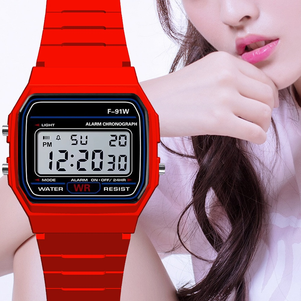Pink Children Digital Watches Silicone Strap Boys Girls Electronic Watch Chronograph Alarm Cute Stud