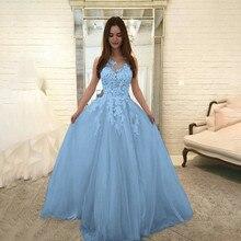 2019 robe bleue femmes mode Floral dentelle élégante robe en mousseline de soie soirée robe de bal robe femme 0.4