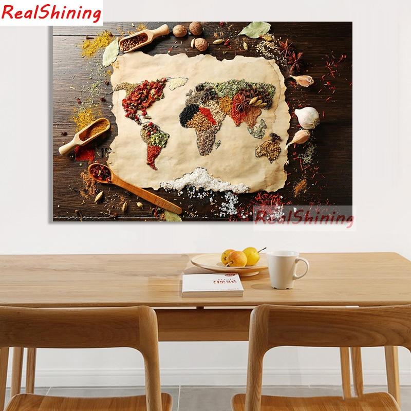 5D Diy diamante pintura punto de cruz diamante cuadrado completo bordado comida mundo mapa imagen para la decoración de la habitación H1667