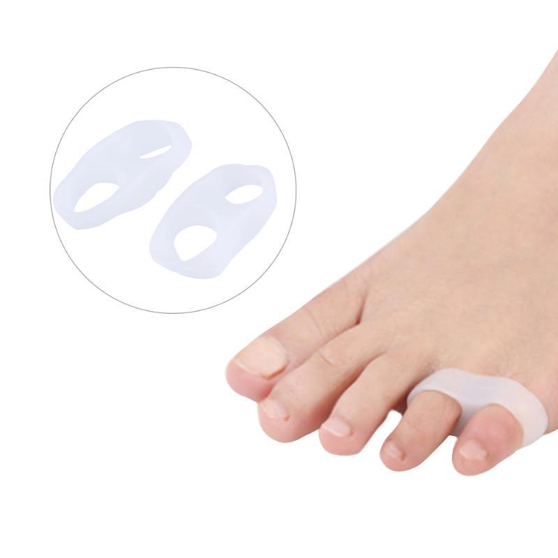 1 par de anillos dobles de silicona, pequeños dedos del pulgar, ortopédicos, Hallux Valgus, espaciador de Gel, herramientas protectoras para los pies para el cuidado, medias ortopédicas