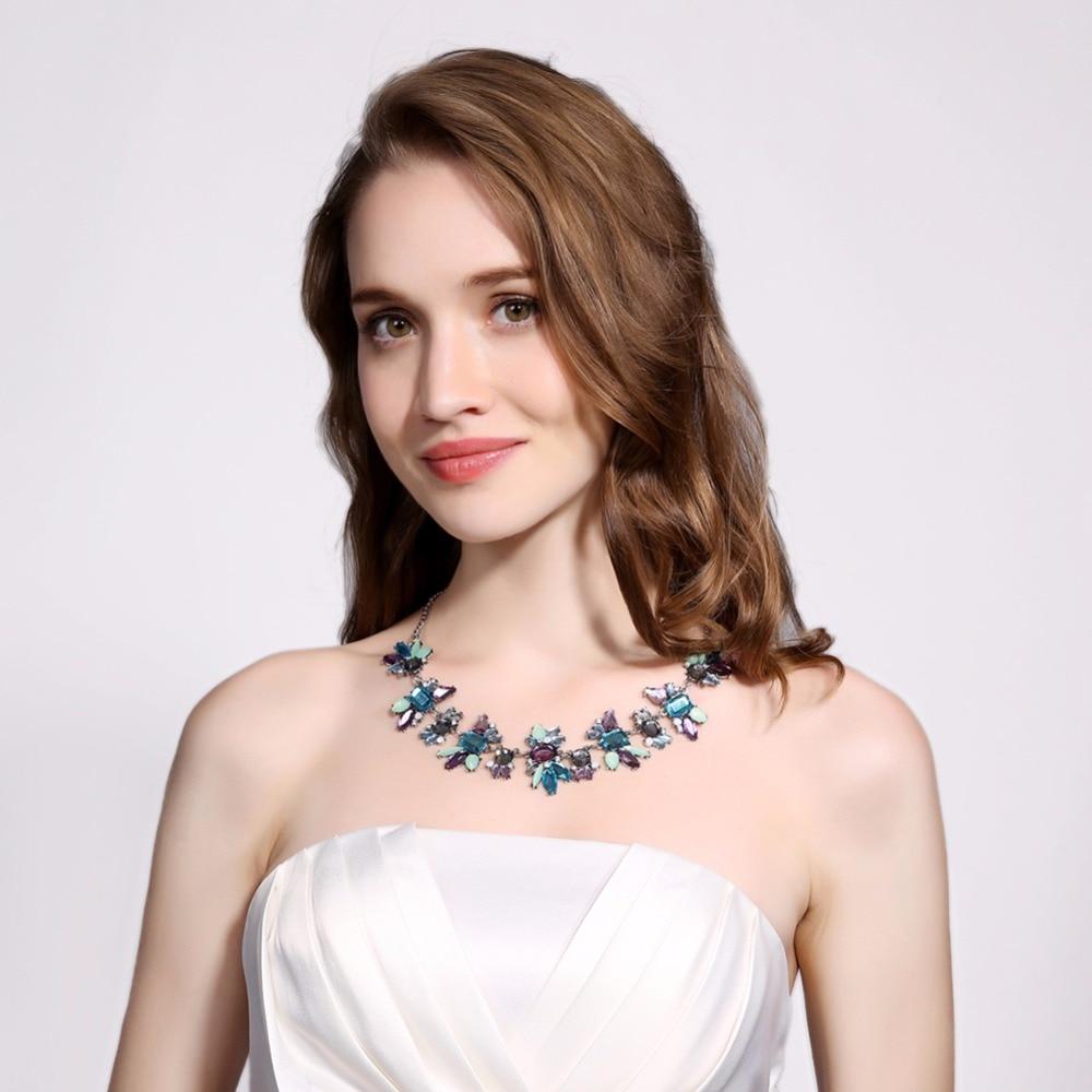 Conjunto de collar de acrílico azul para mujer, cadena de corazón con diamantes de imitación Boho Kpop, Gargantilla, joyería, collar, joyería za 2020