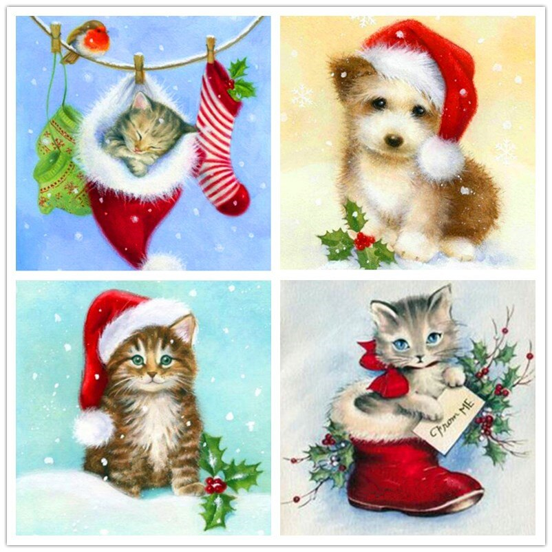 Tarjeta de Navidad de regalo 5D Diy completo cuadrado/redondo diamante pintura gatos piedra diamante pintura 3D bordado pegatina de punto de cruz