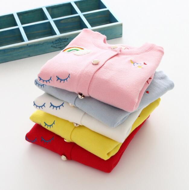 En stock 4 estilos de color recién llegado Arco Iris nubes niños de manga larga de algodón de lana cardigan niños niñas casual lindo cardigan
