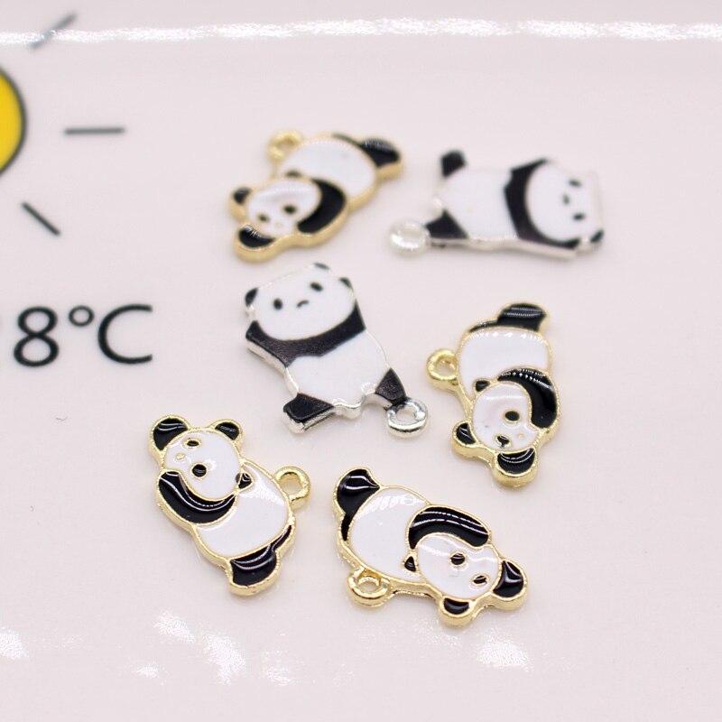 6 pçs diy bonito panda encantos esmalte pingentes achados artesanal colar brinco pulseira pingente fazer jewlery acessório c317