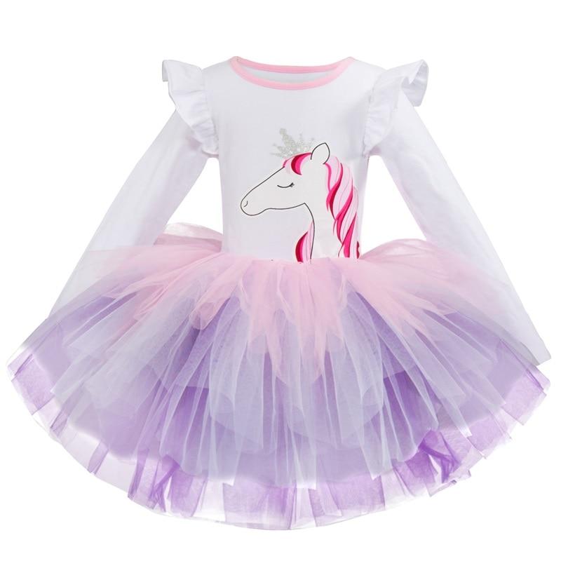 Костюм Принцессы, одежда для вечеринок, детские платья, платье для маленьких девочек, Повседневное платье с принтом в виде единорога для мал...