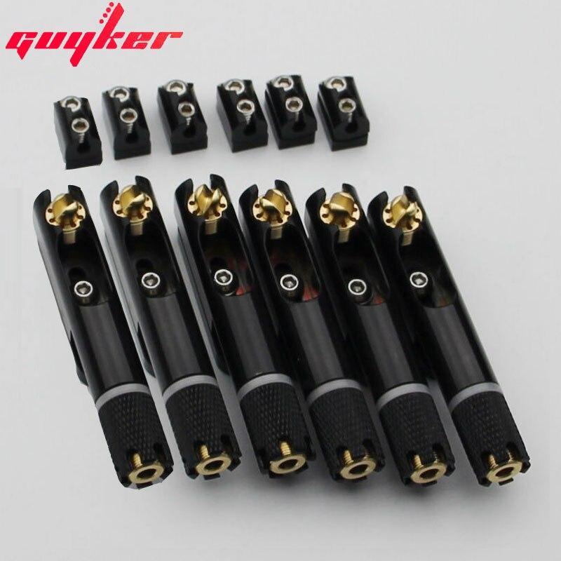 Puente de guitarra Guyker, sin cabeza, traste con ventilador, puentes de ventilador de latón fijos individuales para guitarra eléctrica de 6 cuerdas