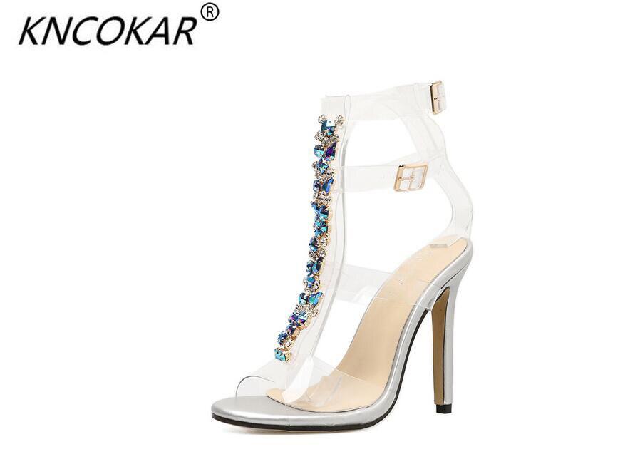 Sandalias de cristal sexis con tacones altos transparentes con cadena de diamante de color de estilo Popular de KNCOKAR para mujer