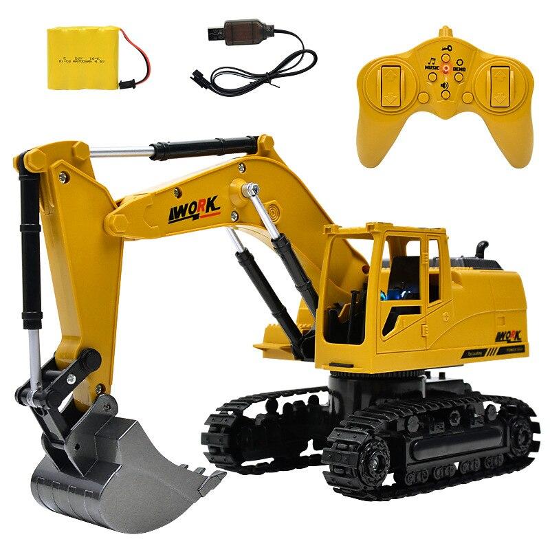 Alloy RC Excavator Truck Engineering Construction 8CH 2.4G 1/14 Simulation RC excavator toys Music light Die-cast Remote Excavat