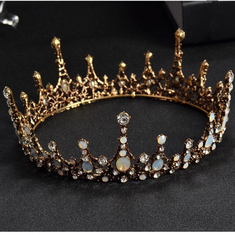 Диези барочный стиль, винтажный, с кристаллами, для свадьбы, диези, ободок для волос, черная, для принцессы, для торжеств, короны, аксессуары для волос