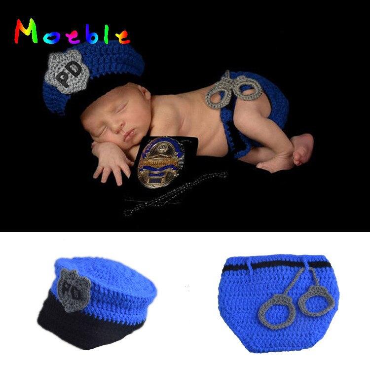 Gran oferta, traje de policía para bebé recién nacido, gorro y pañal de policía para bebé de ganchillo con esposas de punto, disfraz de Halloween para niño MZS-15067
