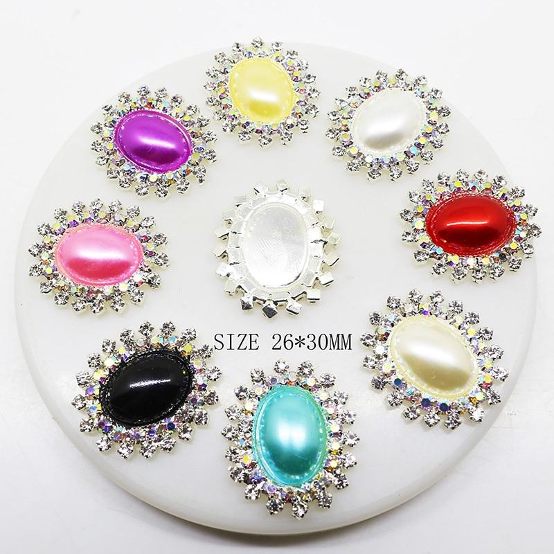 10 unids/set 26mm * 30mm botones de perlas de diamantes de imitación ovalados para boda de niños joyas con diseño de lazo accesorios artesanales decorativos
