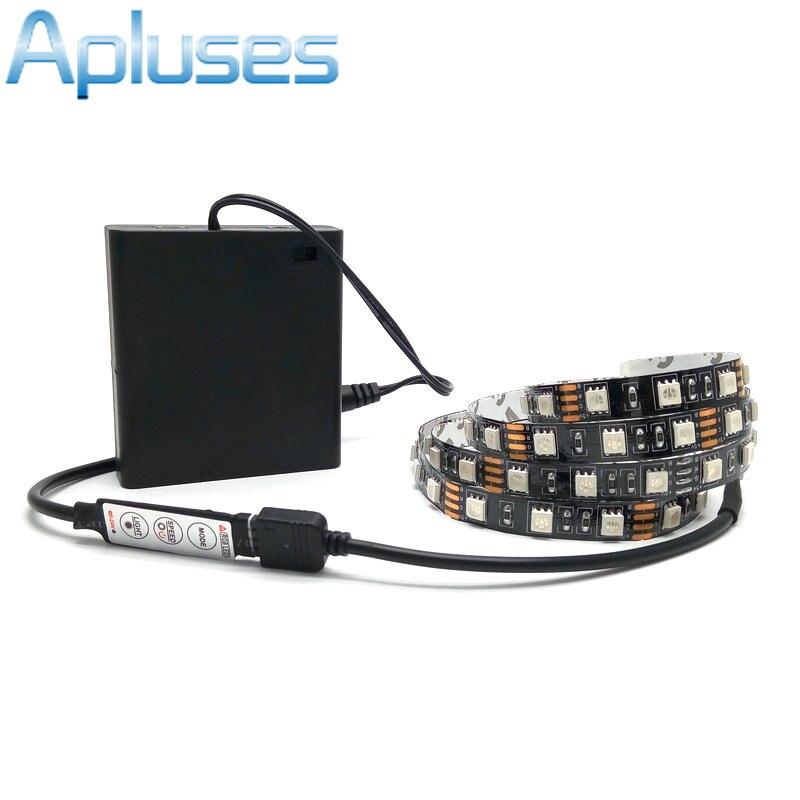 Tira LED de batería 5050 RGB negro PCB 5V IP20/IP65 cinta impermeable iluminación DIY Lámpara decorativa con caja de batería/controlador RGB
