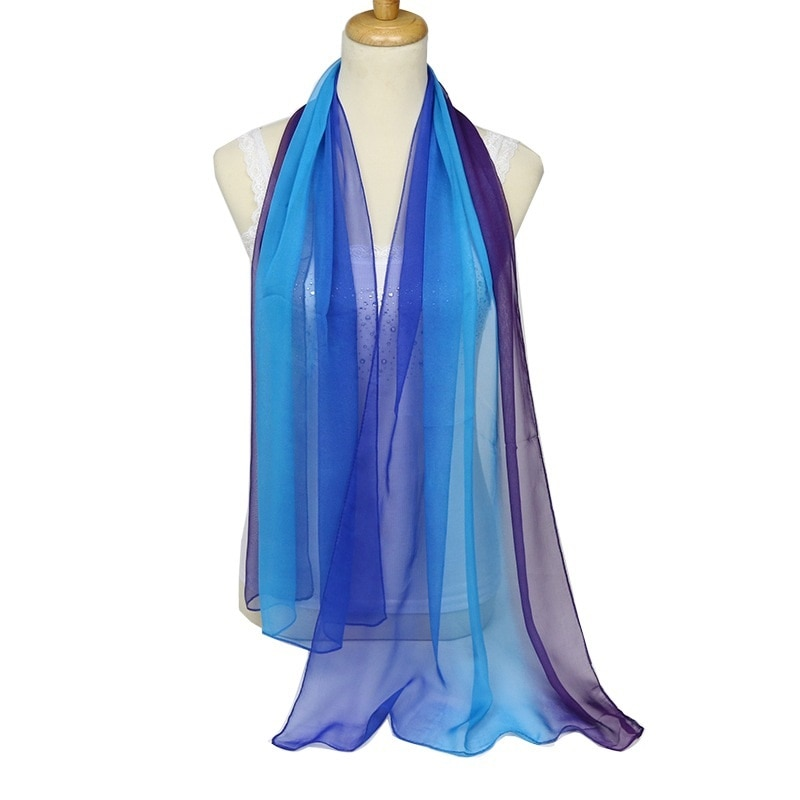 Nice Chiffon oblong Scarf Women High Quality Gradual colors chiffon georgette silk scarves shawl female long design LL190201 france luxe oblong on long and skinny barrette itsy daisy