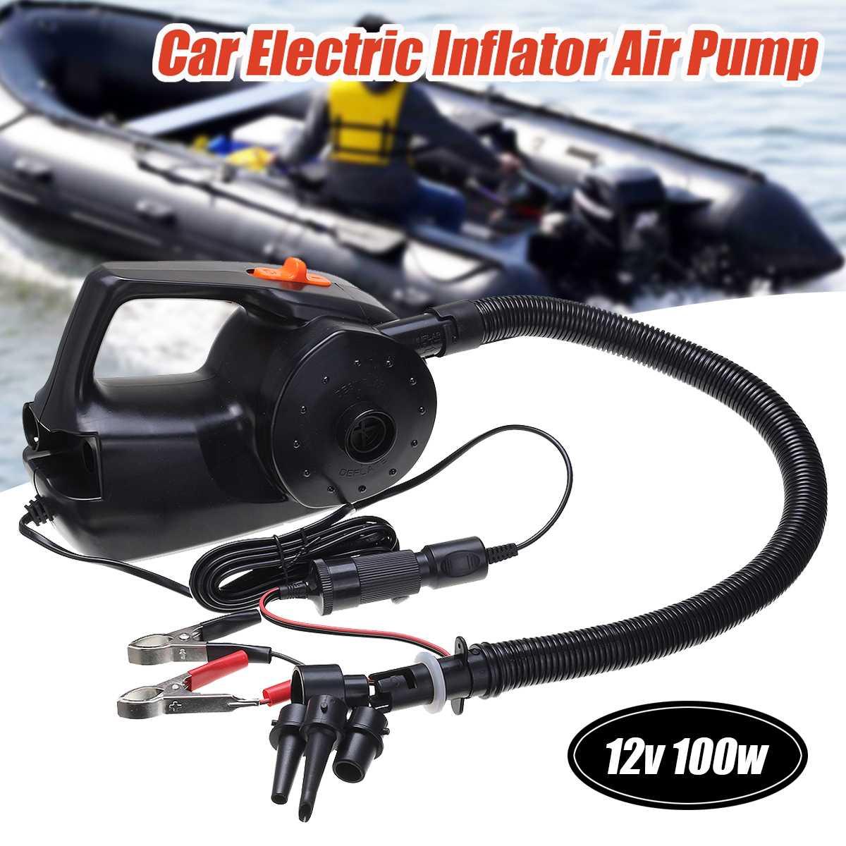 Bomba de aire inflable eléctrica recargable de 12V y 100W para Kayak, barco, piscina, cojines de aire, bola, ventilador portátil para coche