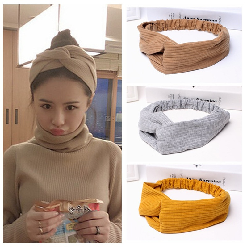 Diadema con lazo anudado para niñas, diadema elástica de algodón tejido con estilo coreano, lazos para el cabello, accesorios para el cabello de moda para mujeres, Rosa