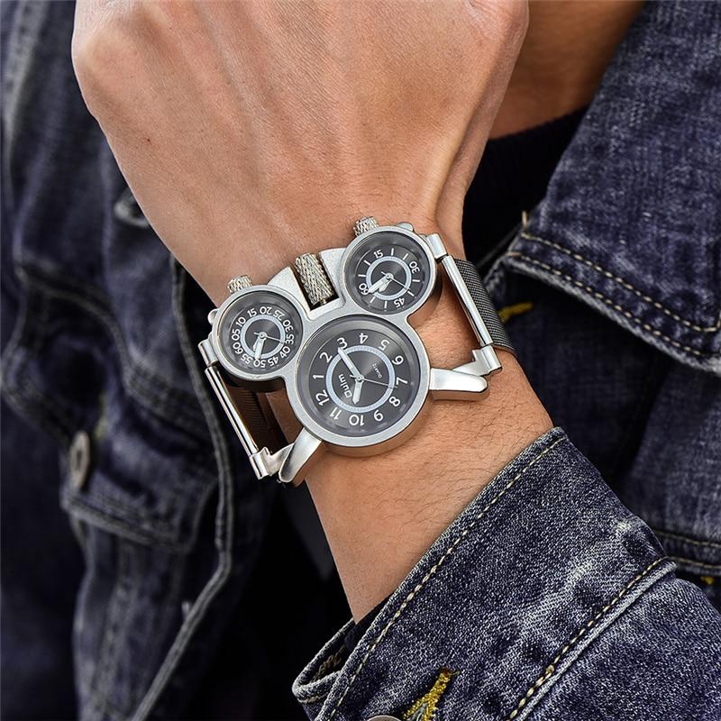 Oulm 1167 Mesh Steel Watch Three Time Zone Display Outdoor Sport Watches Men Casual Brand Quartz Wristwatch erkek kol saati