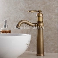 free shipping luxury antique bathroom faucethot and cold basin tapsclassic brass brushed bathroom vessel mixer faucet kf20