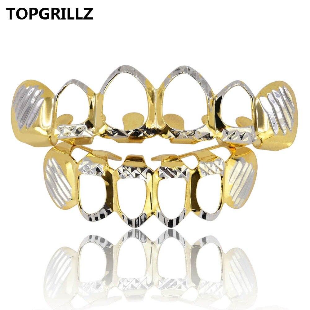 Набор Grillz D-Cut Grillz, чистые Позолоченные верхние и нижние зубцы, 4 открытые хип-хоп грили, Полый зуб, гриль-наборы