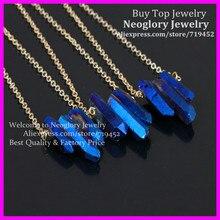 5 pièces brut bleu flamme arc-en-ciel titane Aura cristal Quartz pic collier rugueux pointe Druzy flèche Boho gemmes avec chaîne en laiton or