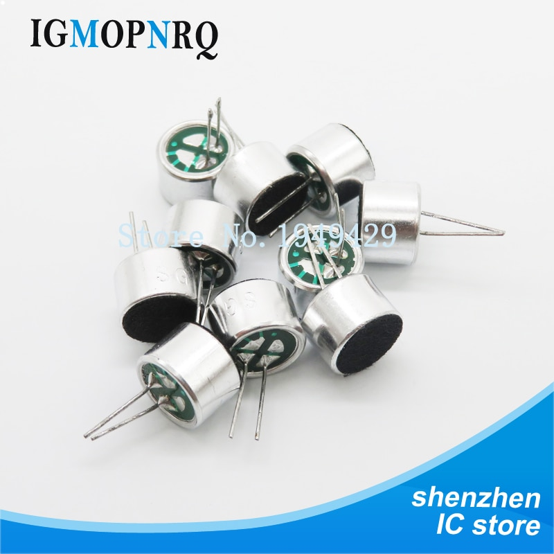100 pces 9.7mm x 7mm 2 pinos mic capsule electret condensador microfone 52db