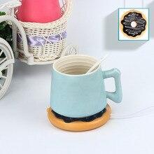 Креативная USB Грелка горячее печенье Кружка грелка Coaster Офис чай кофе напиток Гигантский Пончик чашка обогреватель с питанием от USB печенья ...