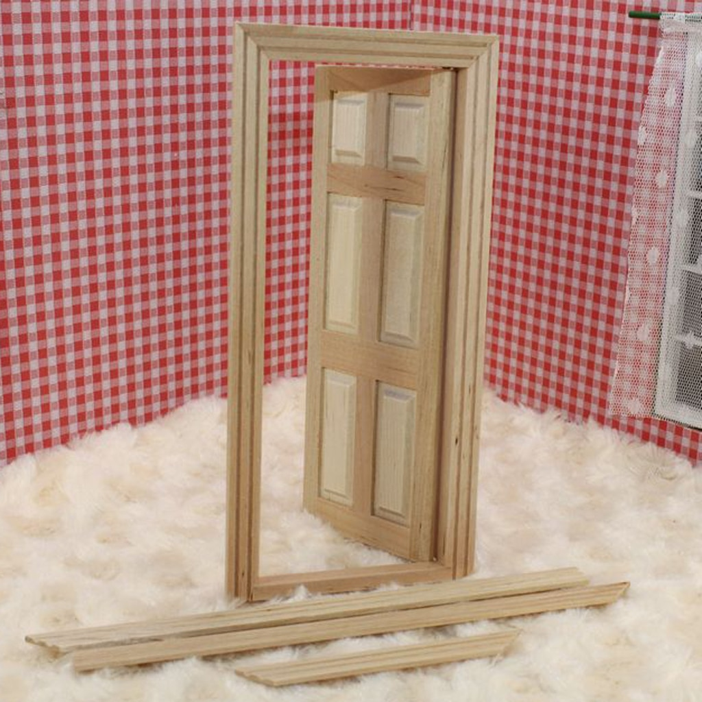 6-Para Panel Interior de marco de puerta de madera casa de muñecas miniatura DIY accesorio escala 112