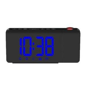 Alarm Clock LED Digital Clock Blue Light Radio Projection Clock ABS Cool Children Get Up Product Bedroom Home Decoration