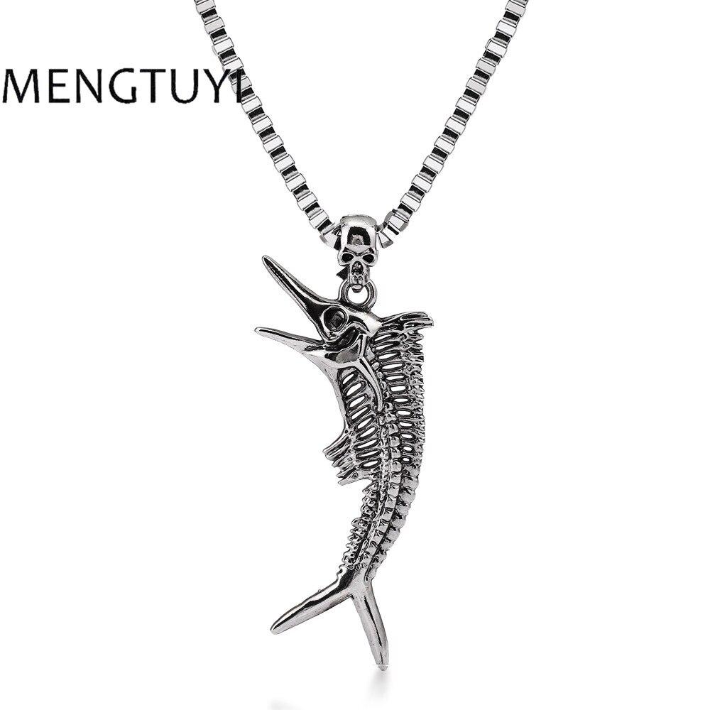 Mengtuyi, collares de joyería para hombres, diseño de hueso de pescado, colgante hueco Vintage, caja larga, collar de cadena, venta al por mayor