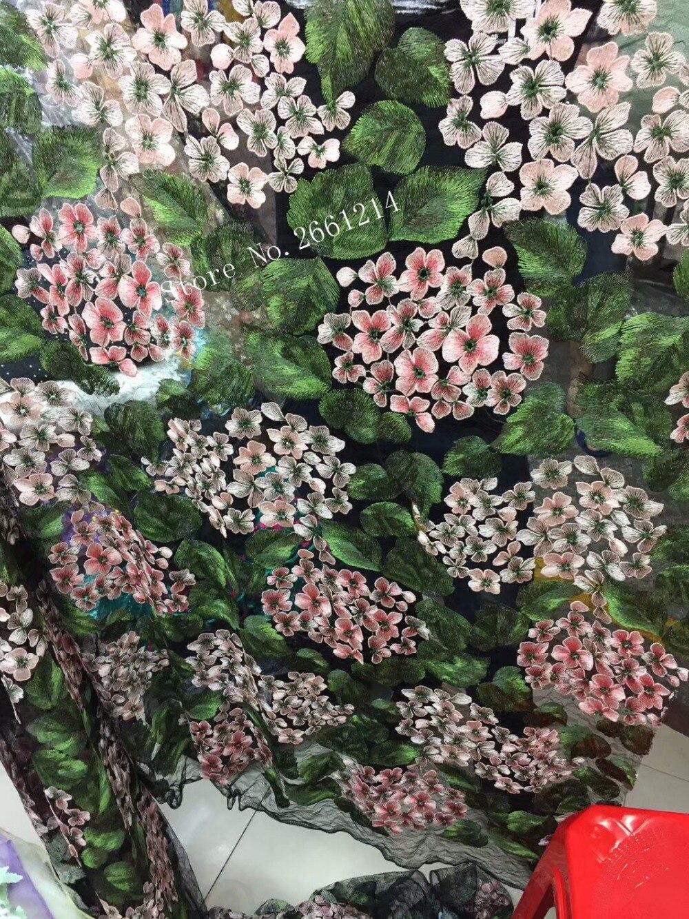 Alta clase flor 3d BZL-5407 tela de encaje de tul africano en venta tela de encaje de red de tul de malla africana con flores 3d