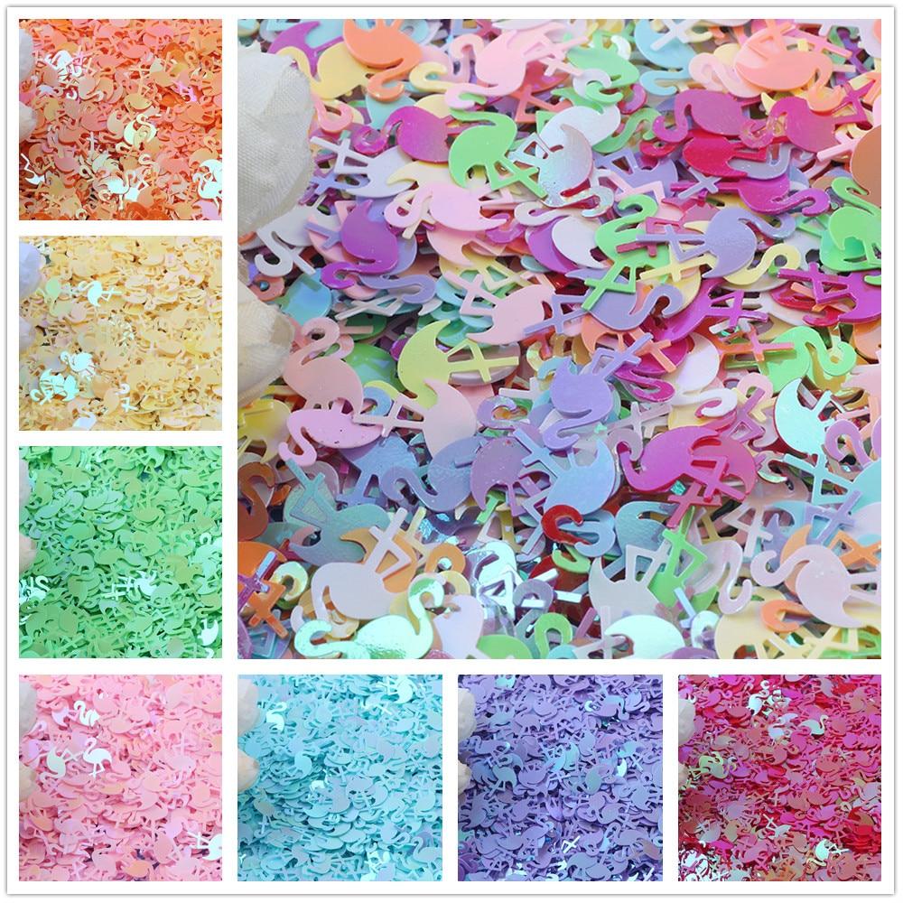 20 g/lote de lentejuelas sueltas de 10x15mm con forma de flamenco, lentejuelas para artesanías, confeti de PVC para uñas, accesorios de costura DIY con lentejuelas brillantes
