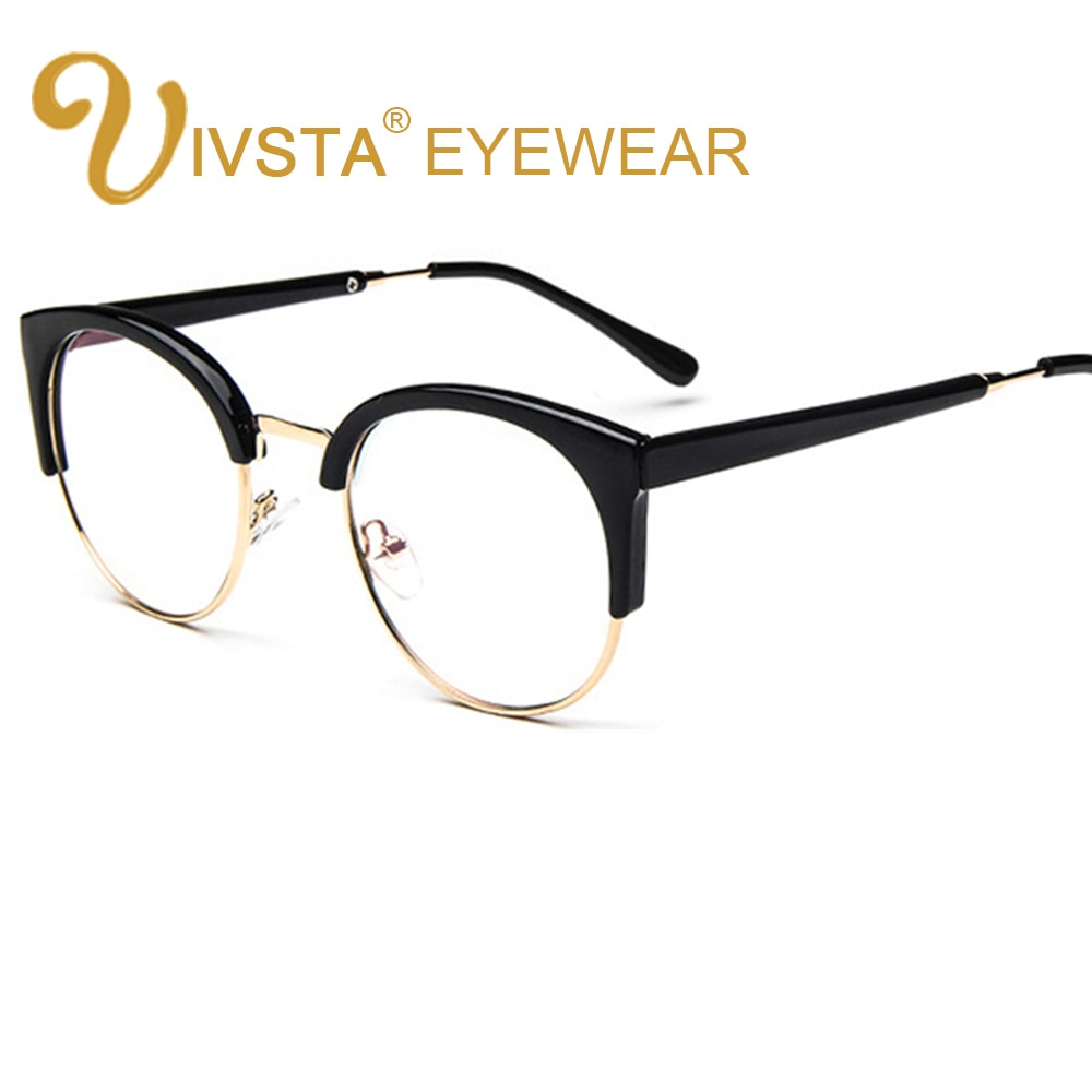 IVSTA Retro Round Transparent Glasses Frame For Women Cat Eye Eyeglasses Nerd Clear Eyeglass Spectacle Optical Eyewear