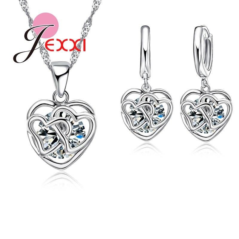 Bonito corazón Cruz hueca diseño mujeres chicas moda 925 Sterling conjunto de joyas de plata con Zirconia cúbica blanca brillante