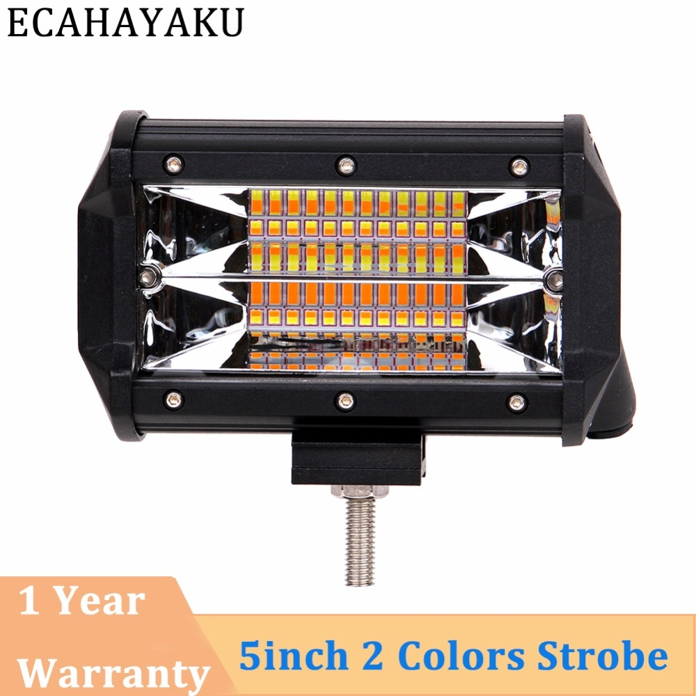 ECAHAYAKU Drop verschiffen 5 zoll Dual Led Licht Bar 72 W 4000 K/6000 K Strobe Blinkende stil für 12 V 24 V AUTO LKW SUV BOOT ATV 4X4
