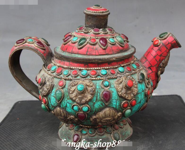 Antigo tibete turquesa coral bronze jóia mahakala cabeça vinho chá pote chaleira flagon