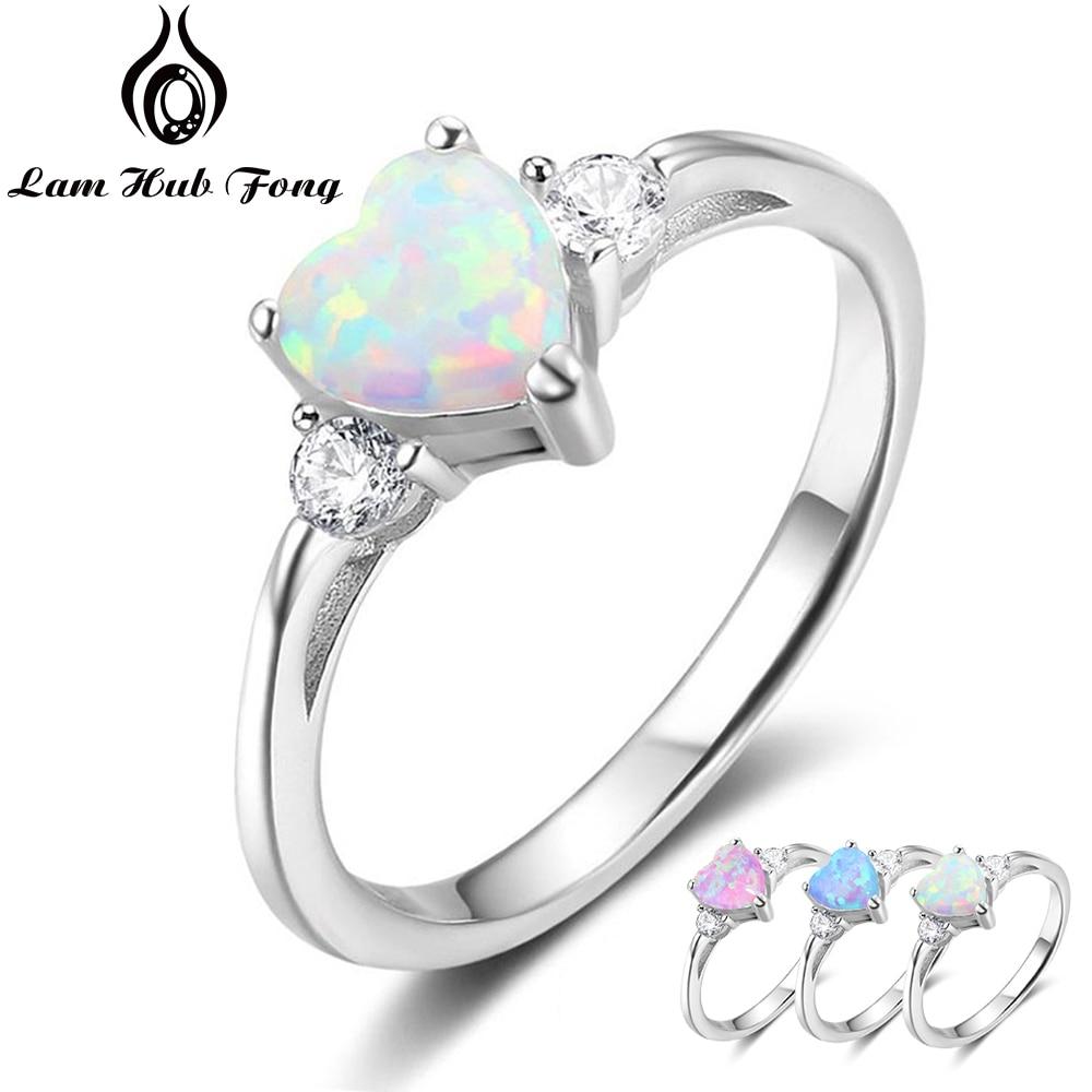 Classic Eternal Heart 925 Sterling Silver Rings for Women Blue Pink White Opal Ring Female Engagement Finger Ring (Lam Hub Fong)