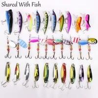 30pcsbag fishing lure minnowpopper spinner spoon hard mixed artificial bait metal fishinglure kit
