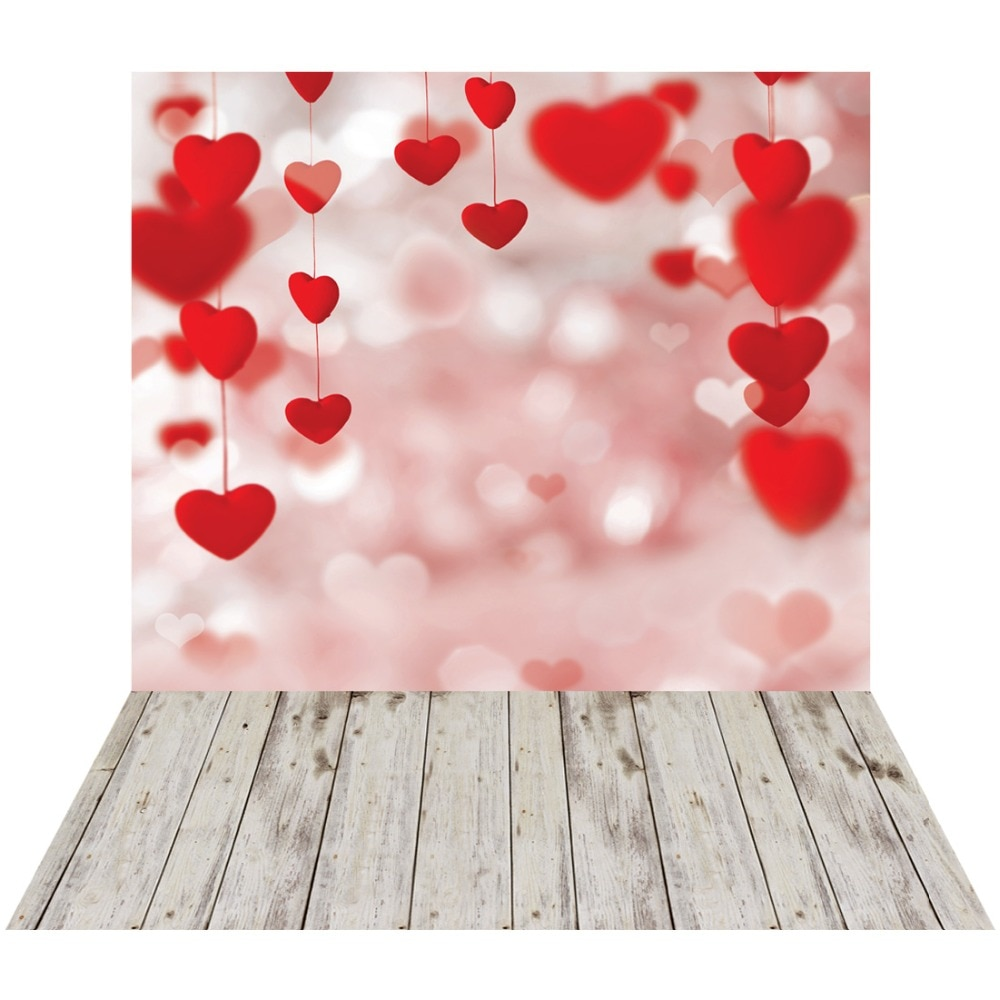 Bokeh Red Hearts Floor Vinyl Photographic Background For Wedding Party Baby Shower New Born Backdrops Photocall  Shoot Booth