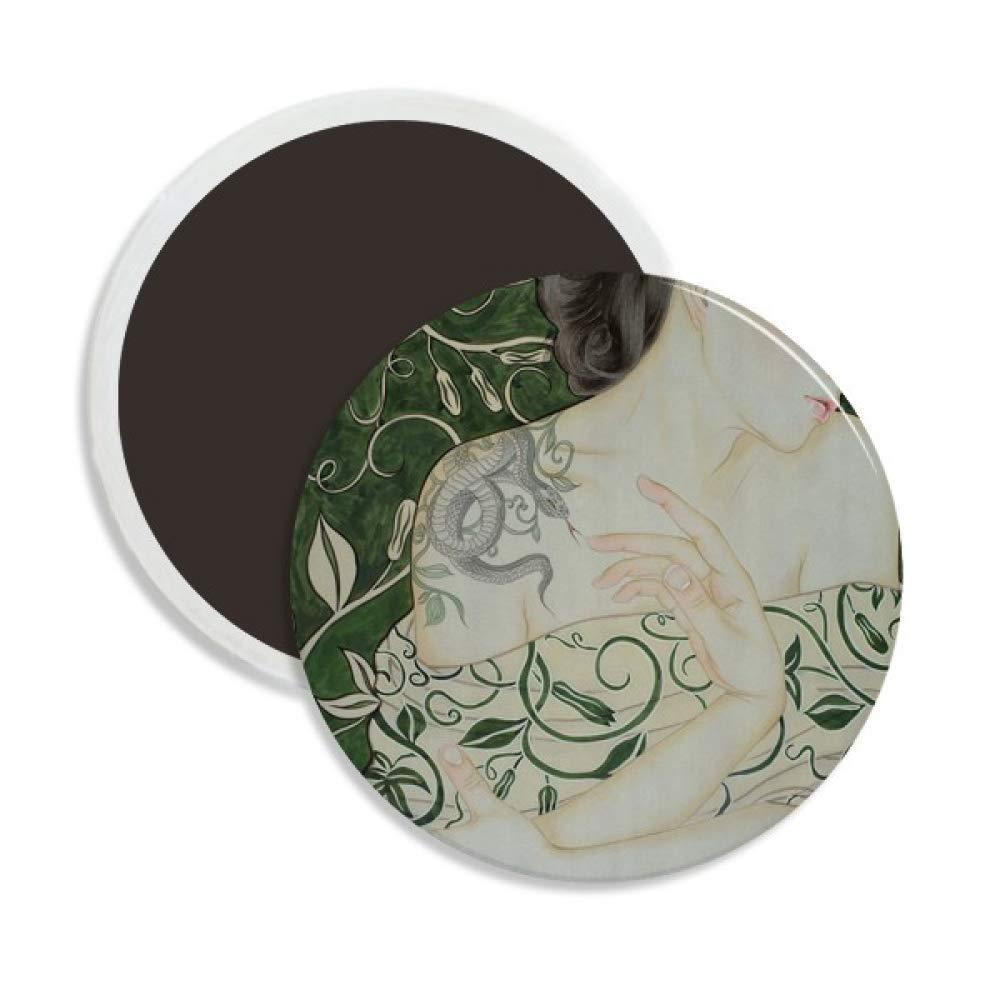 Belleza vid serpiente estilo chino acuarela círculo cerámica imán de nevera 2 piezas