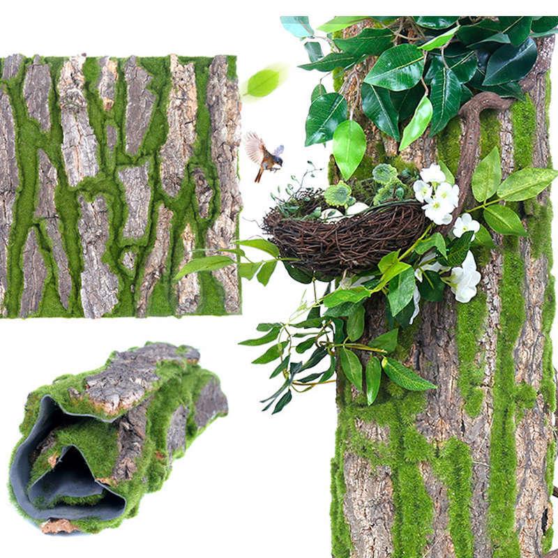 Musgo Artificial, planta verde de imitación, vid de imitación, flor de imitación, ladrido simulado, tubería de jardinería, decoración de pared para sala de estar y jardín