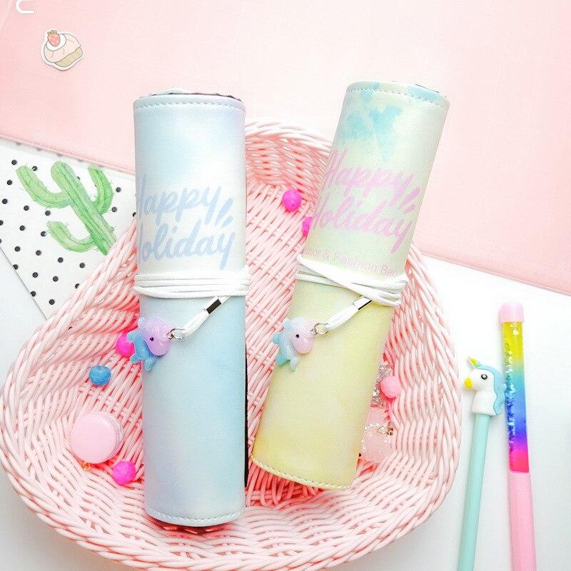 Cartoon Unicorn Pendant Pencil Case For girls Cute Roll Up Pen box Waterproof Cosmetic Bag School Supplies material escolar
